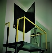 Cat ladder and platform for easy access to motor room.